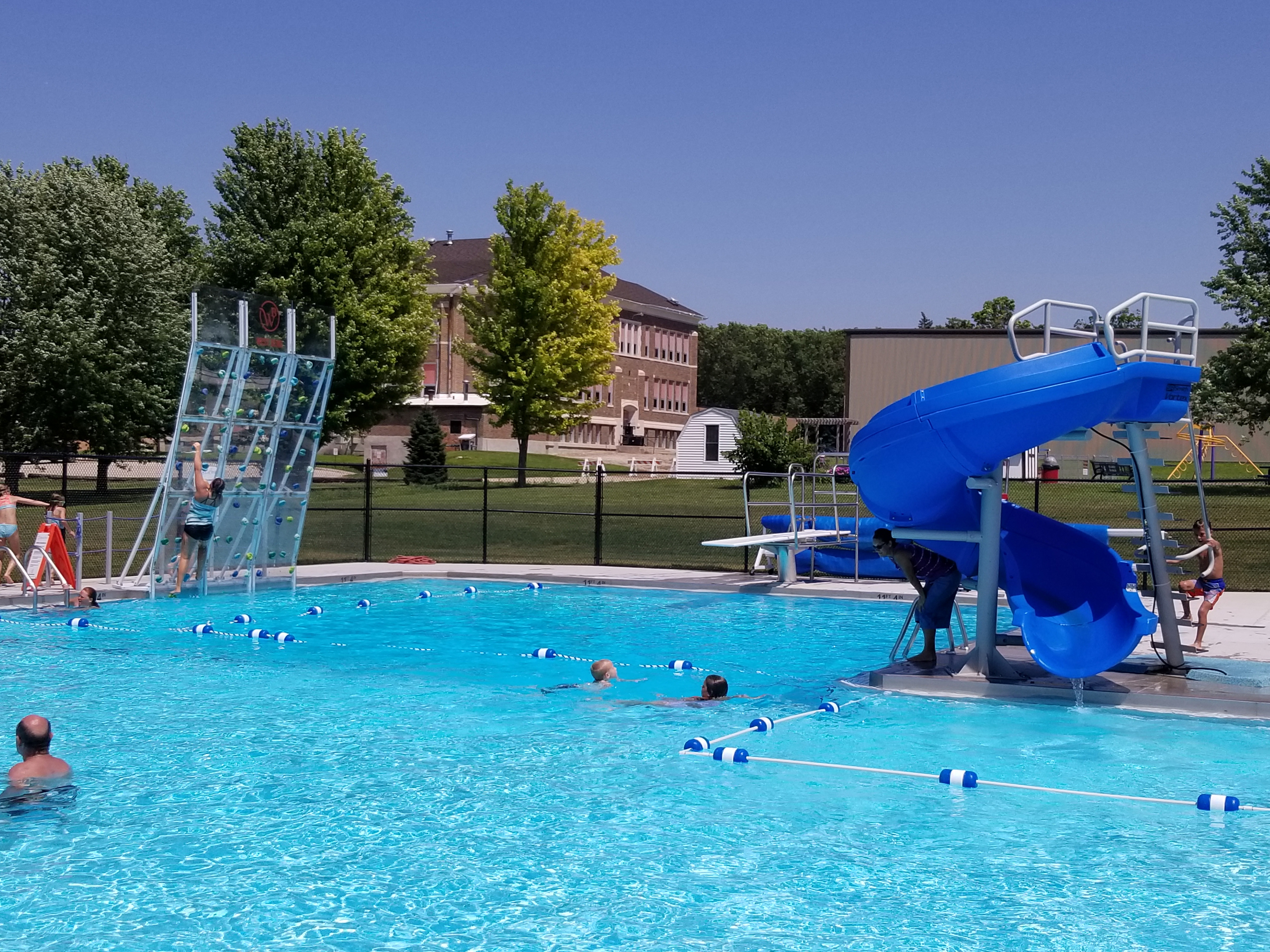 West Bend Pool with climbing wall and water slide